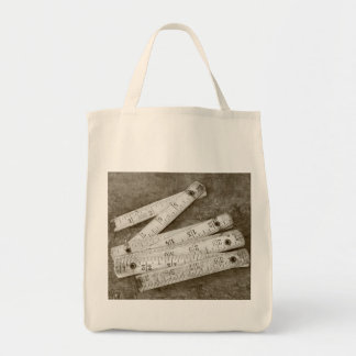Folding ruler grocery tote bag