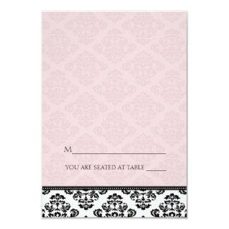 Folding Tent Pink Damask Place Cards 9 Cm X 13 Cm Invitation Card
