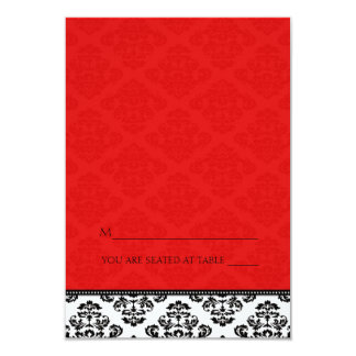 Folding Tent Red Damask Place Cards 9 Cm X 13 Cm Invitation Card
