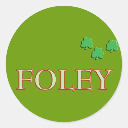 Foley Family Name Round Stickers