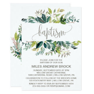 Foliage Baptism Card