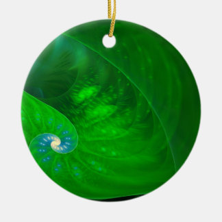 Foliage Fractal Art Round Ceramic Decoration