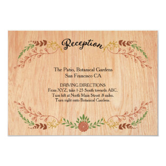 Foliage Garland (Wood) Vintage Fall Wedding Insert Personalized Invites