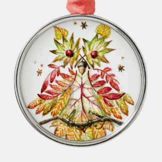 Foliage owl christmas ornament