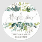 Foliage Thank You Favour Classic Round Sticker