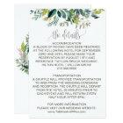 Foliage Wedding Details Card