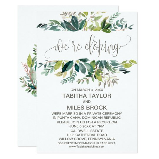 foliage we re eloping elopement reception invitation zazzle co uk