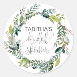 Foliage Wreath Bridal Shower Classic Round Sticker