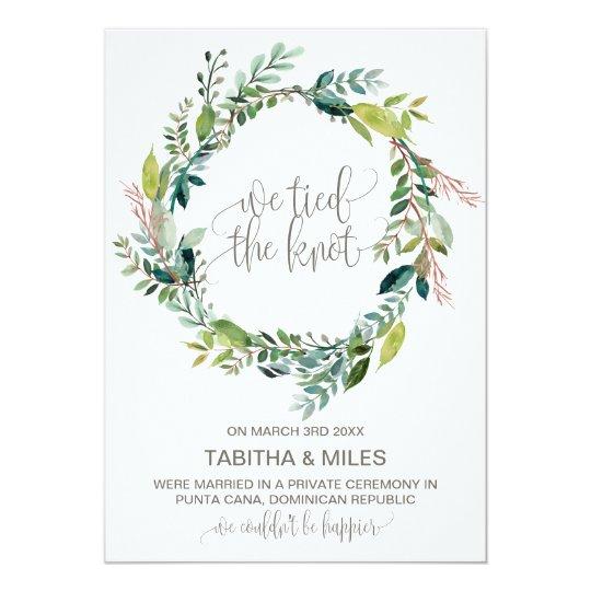 Foliage Wreath Elopement Announcement