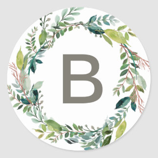 Foliage Wreath Monogram Wedding Envelope Seals Round Sticker