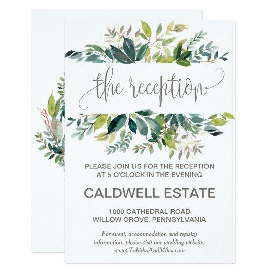 Foliage Wreath Monogram Wedding Reception Insert Card
