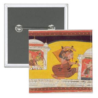Folio 27 Laksmama cuts the nose of Surpanakha, fro 15 Cm Square Badge