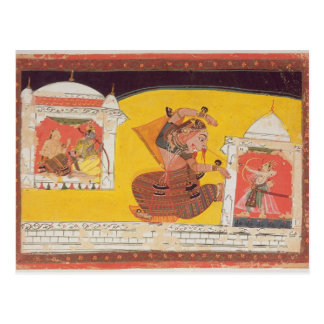 Folio 27 Laksmama cuts the nose of Surpanakha, fro Post Card