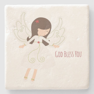 Folk Angel Limestone Coaster