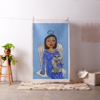 Folk Art Angel Blue eyes White Cat on Cloud Fabric