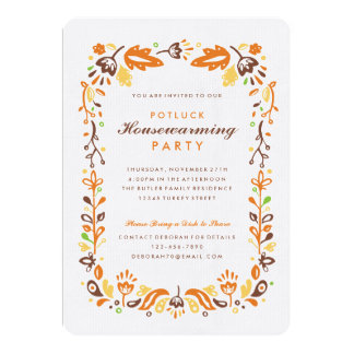 Folk Art Autumn Foliage Housewarming Party 13 Cm X 18 Cm Invitation Card