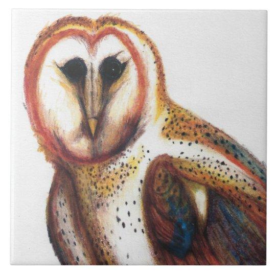 Folk Art Barn Owl Tile, By David I Stromberg Large Square Tile