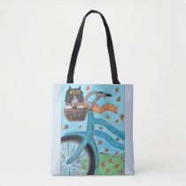 Folk Art Bicycle cat Tote Bag