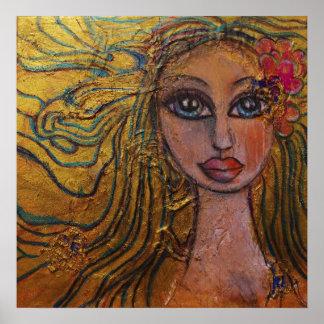 Folk Art Big Eyed Girl Flowers Whimsical Fairy Poster