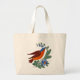 Folk Art Bird Large Tote Bag