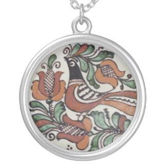 Folk Art Bird Silver Plated Necklace