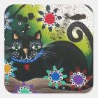 Folk Art_By Everett_ Day Of The Dead, Black CAT Square Sticker