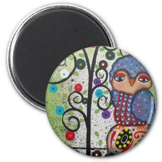 Folk Art By Lori Everett OWL 6 Cm Round Magnet