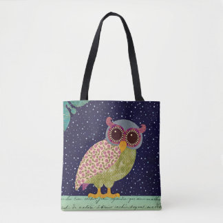 Folk Art Calico Pattern Owl at Night Tote Bag
