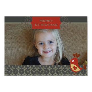 Folk Art Cardinal Custom Photo Holiday Card 13 Cm X 18 Cm Invitation Card