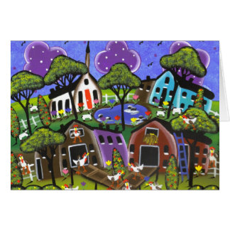 Folk Art Chicken Flock By Lori Everett Card