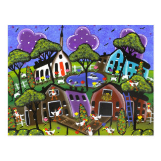 FOLK ART Chicken Flock BY LORI EVERETT postcard
