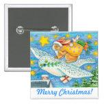 Folk Art Christmas Bunny & Owl Holiday Button