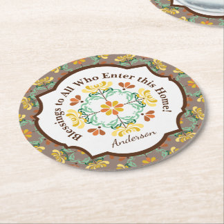 Folk Art Chrysanthemum Autumn Pattern Personalized Round Paper Coaster
