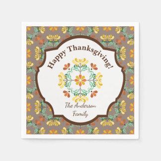 Folk Art Chrysanthemum Personalized Thanksgiving Disposable Serviettes