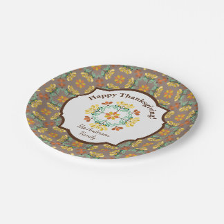 Folk Art Chrysanthemum Personalized Thanksgiving Paper Plate