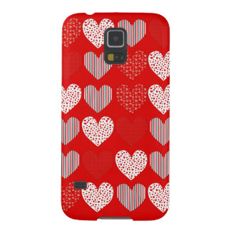 Folk Art Collage of Hearts Red Case For Galaxy S5