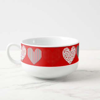 Folk Art Collage of Hearts Red Soup Mug