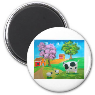Folk art colorful cow and sheep painting magnet