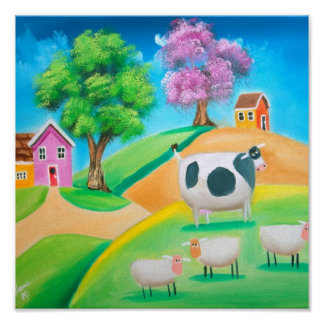Folk art colorful cow and sheep painting poster