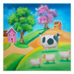 Folk art colourful cow and sheep painting poster