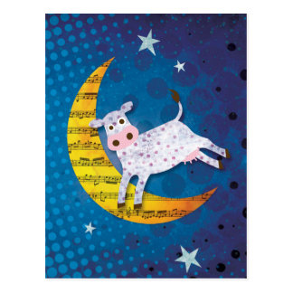 Folk Art Cow Jumped Over the Moon Nursery Rhyme Postcard