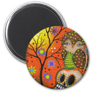 Folk Art Day Of The Dead By Lori Everett 6 Cm Round Magnet