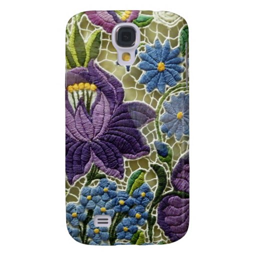 Folk Art Embroidery Flowers Samsung Galaxy S4 Cases
