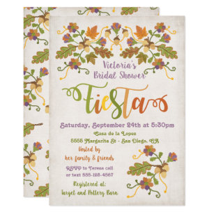 1cfa76f30f79 Folk Art Embroidery Mexican Fiesta Bridal Shower Invitation