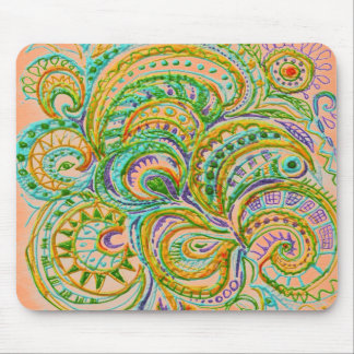 Folk Art Fantasy Pattern Mouse Pad