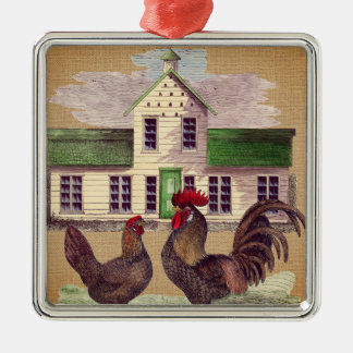 Folk Art Farmyard Chickens Rustic Design Christmas Ornament