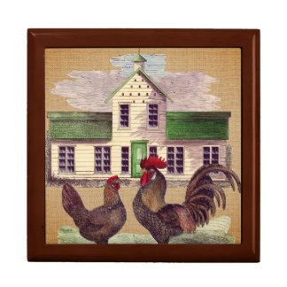 Folk Art Farmyard Chickens Rustic Design Gift Box