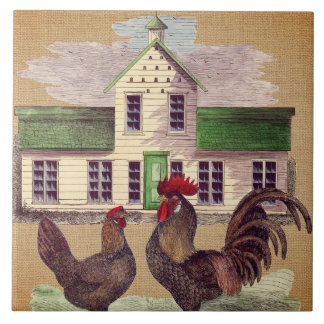Folk Art Farmyard Chickens Rustic Design Large Square Tile