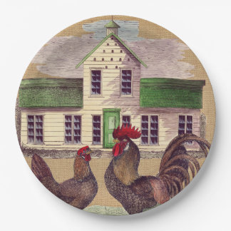 Folk Art Farmyard Chickens Rustic Design Paper Plate