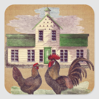 Folk Art Farmyard Chickens Rustic Design Square Sticker